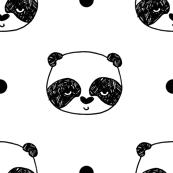 "Panda Polka Dot - White (Small 1"" Panda Face) by Andrea Lauren"