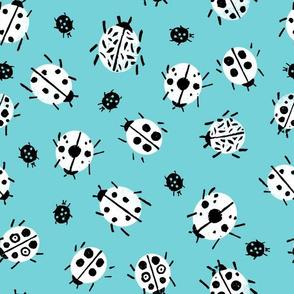 Ladybugs - Aqua Background by Andrea Lauren