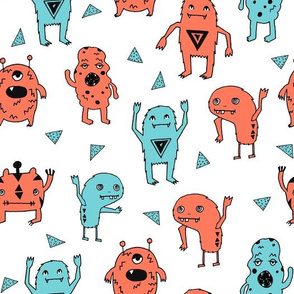 monsters // orange and blue boys room kids little boys monster creepy kids fabric
