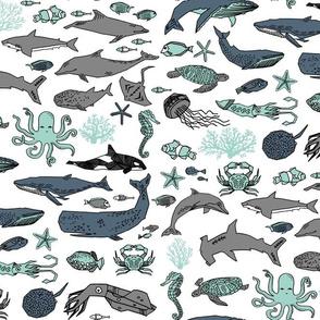 ocean //  kids summer whales ocean orca turtles sharks octopus coral seahorse