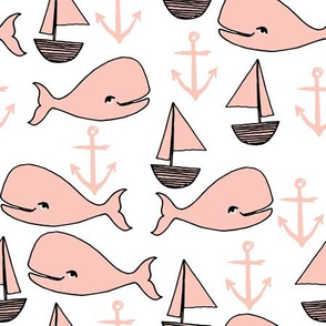 nautical whales // pink sailboats anchors pink whales whale nursery girls cute fabric for baby girls nursery baby