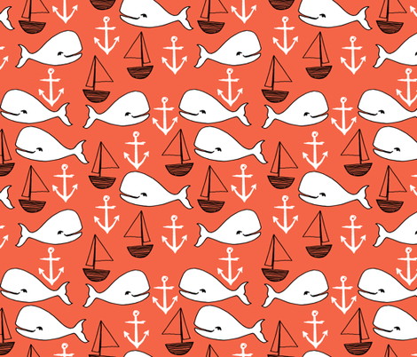 Nautical whales orange coral fabric nautical nursery for Nautical nursery fabric