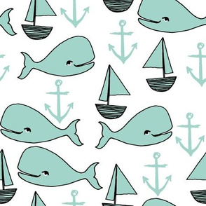 nautical whales // whale mint anchor nautical baby cute nursery fabric