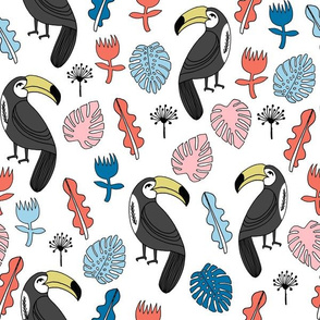 toucans // toucan monstera leaves tropical birds bird tropical fabric
