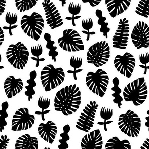 Tropical Leaves - Black and White by Andrea Lauren