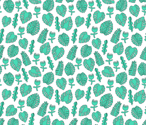 Tropical Leaves - Light Jade by Andrea Lauren fabric by andrea_lauren on Spoonflower - custom fabric