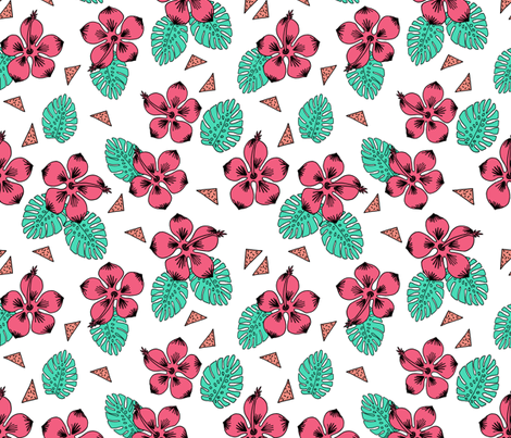 Hibiscus - Bright Pink by Andrea Lauren fabric by andrea_lauren on Spoonflower - custom fabric