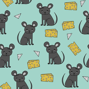 Mouse and Cheese - Pale Turquoise by Andrea Lauren