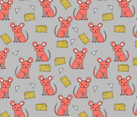 Mouse & Cheese - Bittersweet by Andrea Lauren fabric by andrea_lauren on Spoonflower - custom fabric