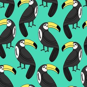 toucans // toucan fabric bright green summer bird tropical toucan print