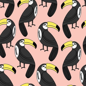 toucans // pink blush cute toucan bird tropical birds bird fabric