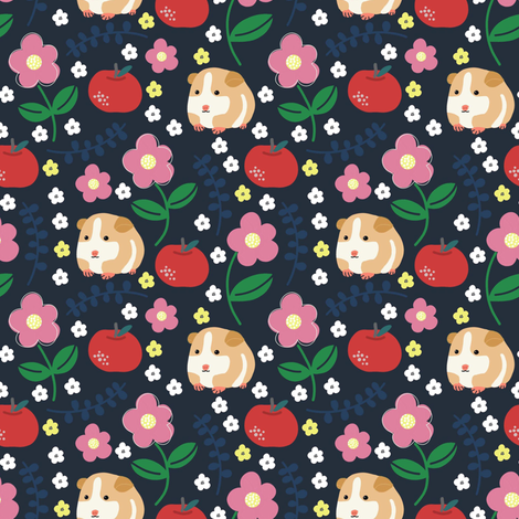 Guinea Pigs and Apples fabric by susan_polston on Spoonflower - custom fabric