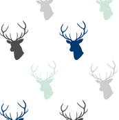 Mint Navy Gray Deer half scale
