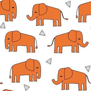 Elephants - Orange/White by Andrea Lauren