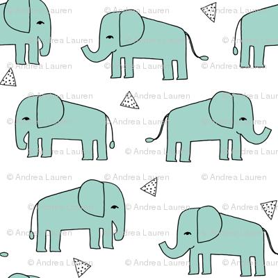 Elephant - Pale Turquoise by Andrea Lauren