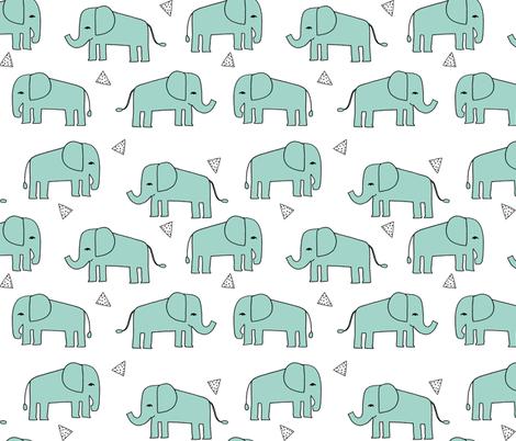 Elephant - Pale Turquoise by Andrea Lauren fabric by andrea_lauren on Spoonflower - custom fabric