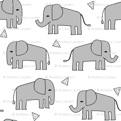 Elephants - Slate/White by Andrea Lauren