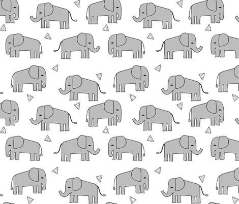 Elephants - Slate/White by Andrea Lauren fabric by andrea_lauren on Spoonflower - custom fabric
