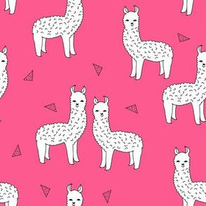 alpaca // pink llama fabric cute llamas fabric best alpacas design andrea lauren fabric cute llamas design