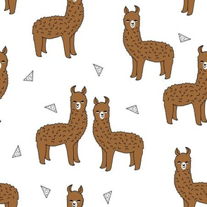 alpaca // brown alpaca fabric cute llamas fabric wool knitting illustration andrea lauren design cute animals fabric