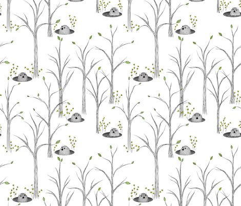 Springtime for Groundhogs (or I've had my Phil of winter)  fabric by vo_aka_virginiao on Spoonflower - custom fabric