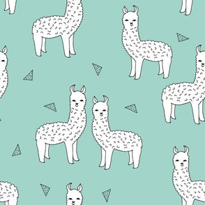 alpaca // mint alpaca fabric cute alpacas knit fabric nursery baby fabric andrea lauren design
