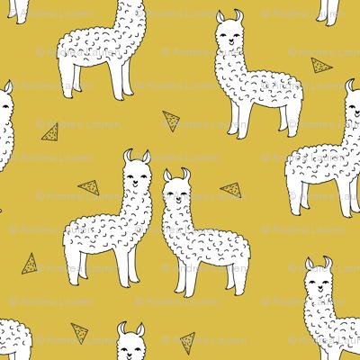 alpaca // mustard yellow alpaca fabric cute andrea lauren design llamas fabric nursery baby mustard yellow