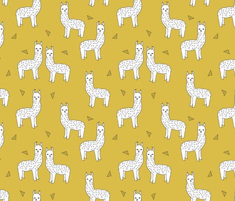 alpaca // mustard yellow alpaca fabric cute andrea lauren design llamas fabric nursery baby mustard yellow fabric by andrea_lauren on Spoonflower - custom fabric