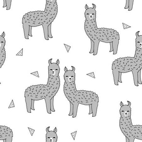 alpaca // grey alpaca llama fabric cute baby nursery design sweet llamas fabric
