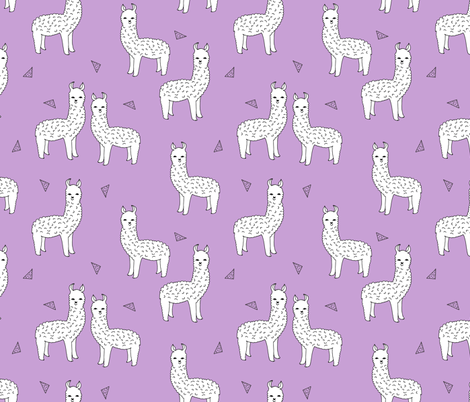Alpaca purple and white alpaca llama fabric cute purple for Cute baby fabric prints