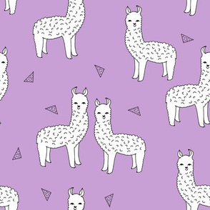 alpaca // purple and white alpaca llama fabric cute purple animals llamas design nursery baby