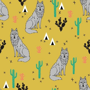 wolf // desert cactus fabric cacti baby nursery design fabric andrea lauren fabric