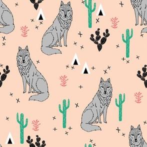 wolf // cactus desert fabric andrea lauren baby fabric design andrea lauren fabric