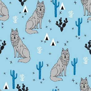 desert wolf // wolf wolves cactus blue wolves tipi teepee andrea lauren fabric