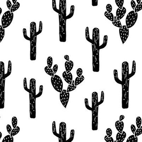 cactus // black and white block print stamps