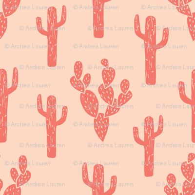 cactus // block print cactus cacti blush kids girls hipster sweet summer exotic southwest desert