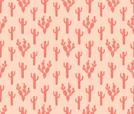 cactus // block print cactus cacti blush kids girls hipster sweet summer exotic southwest desert fabric by andrea_lauren on Spoonflower - custom fabric