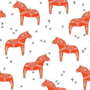 dala horse // red dala fabric swedish scandi design andrea lauren fabric
