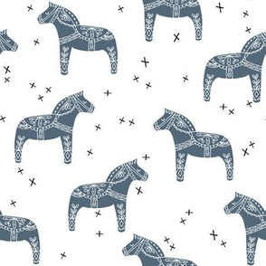 dala horse // blue grey dala horse illustration design scandi nordic fabric andrea lauren design