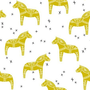 dala horse // scandi dala horse fabric golden rod bright yellow fabric