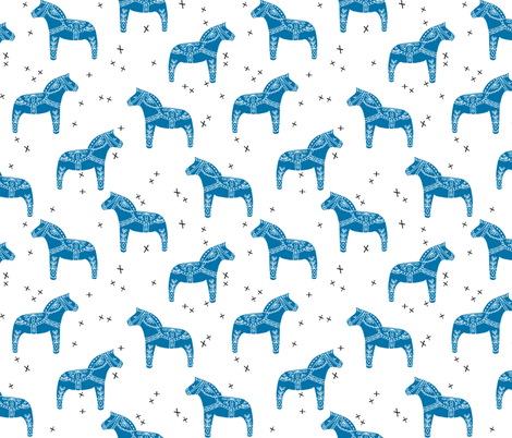 dala horse // swedish horse fabric sweden fabric andrea lauren design folk illustration fabric by andrea_lauren on Spoonflower - custom fabric