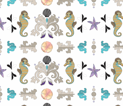 Seaside Damask fabric by alli's_studio on Spoonflower - custom fabric