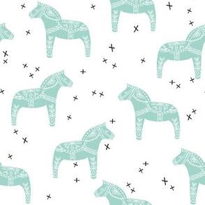dala horse // aqua mint dala scandi fabric andrea lauren baby nursery design