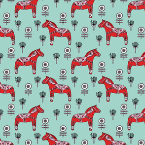 folk dala // floral dala horse fabric folk style illustration andrea lauren fabric andrea lauren design