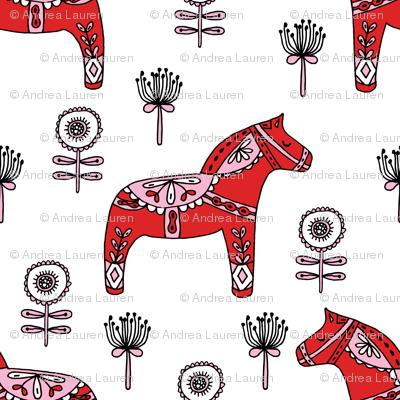 folk dala // dala horse folk style illustration nordic swedish andrea lauren fabric