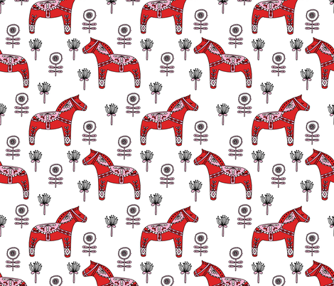 folk dala // dala horse folk style illustration nordic swedish andrea lauren fabric fabric by andrea_lauren on Spoonflower - custom fabric