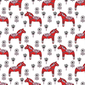 folk dala // dala horse folk style illustration nordic swedish andrea lauren fabric