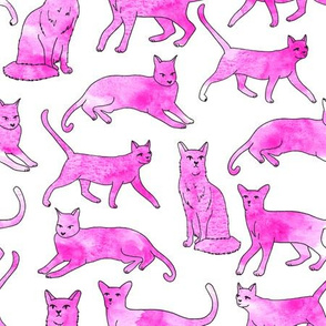 cat // watercolor pink painted cute cats paint cats girls