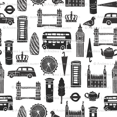 London Block Print - Black & White Minimal,  Scandi, Monochrome by Andrea Lauren