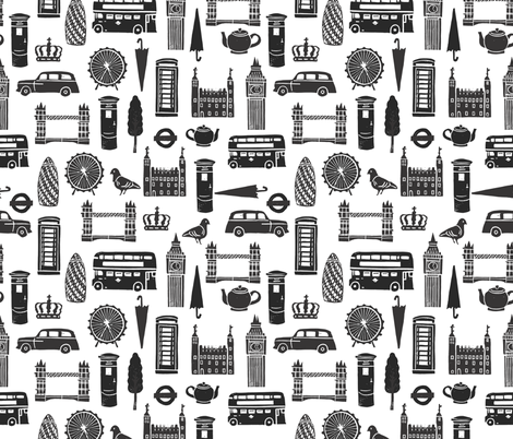 London Block Print - Black & White Minimal,  Scandi, Monochrome by Andrea Lauren fabric by andrea_lauren on Spoonflower - custom fabric